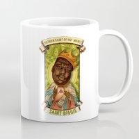 biggie smalls Mugs featuring Saint Biggie! by Amelia Jude