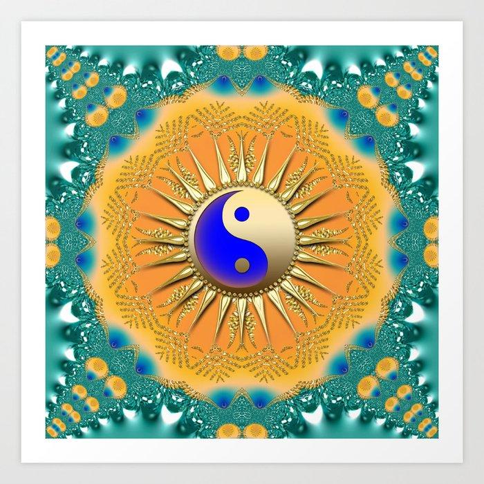 Sunshine YinYang Teal Orange Art Print