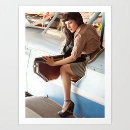 """Flight Deck"" - The Playful Pinup - Airplane Pilot Pin-up Girl by Maxwell H. Johnson Art Print"