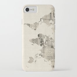 Map of the World Map from Old Postcards iPhone Case