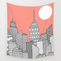 skyline Wall Tapestries featuring Skyline  by  Steve Wade ( Swade)