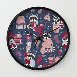 Hygge raccoon Wall Clock