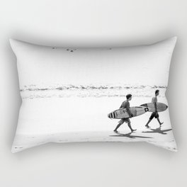 Black and white, surfers on the beach Rectangular Pillow