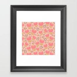 Retro floral - red, light pink, mustard Framed Art Print