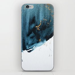 A Minimal Sapphire and Gold Abstract piece in blue white and gold by Alyssa Hamilton Art  iPhone Skin