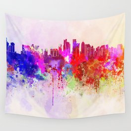 Doha skyline in watercolor background Wall Tapestry