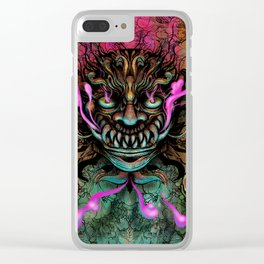 Japanese Dragon Mask Clear iPhone Case