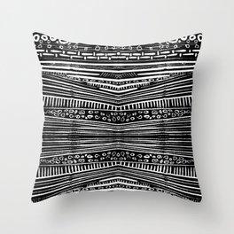 Linocut Tribal Pattern Throw Pillow