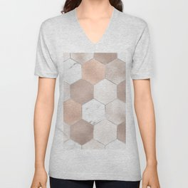 Rose pearl and marble hexagons Unisex V-Neck