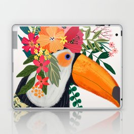 Toucan with flowers on head Laptop & iPad Skin