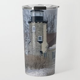 Lighthouse during Winter in Whitehall Michigan Travel Mug