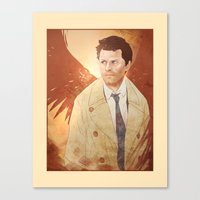 castiel Canvas Prints featuring Castiel by Vaahlkult