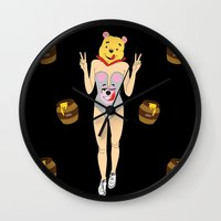 pooh Wall Clocks featuring Miley Pooh by Butt Ugly Co