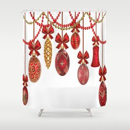 Red And Gold Christmas Ornaments Shower Curtain