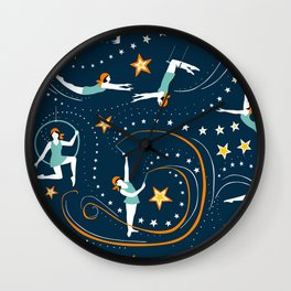 Circus Performers 1920s Acrobats on dark navy Wall Clock