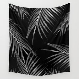 Silver Gray Black Palm Leaves Dream #1 #tropical #decor #art #society6 Wall Tapestry
