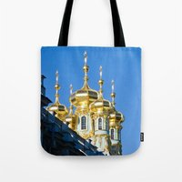 spires Tote Bags featuring Catherine Palace Spires - Pushkin - Russia by PRE Media