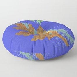 Oak Leaf on Royal Blue Painting Floor Pillow
