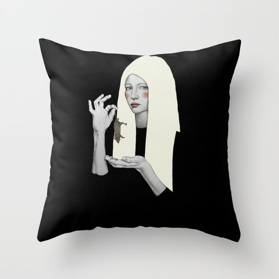 Vana in black Throw Pillow
