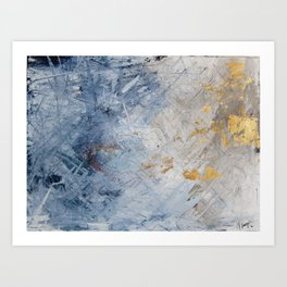 Blue white and Gold Abstract Painting Art Print