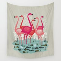 yetiland Wall Tapestries featuring Flamingos by Andrea Lauren  by Andrea Lauren Design