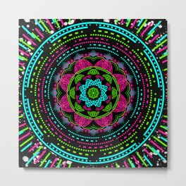 Mandala Energy in Neon Metal Print