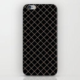 Pantone Hazelnut Thin Line Stripe Grid (Pinstripe Pattern) on Black iPhone Skin