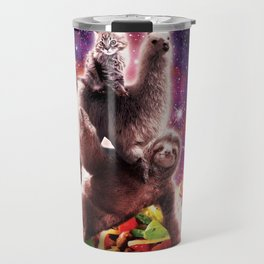 Space Cat Llama Sloth Riding Taco Travel Mug