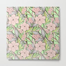 Delicate tropical floral pattern. Metal Print