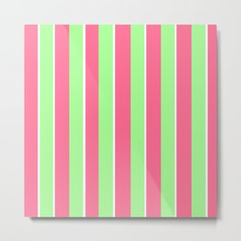 Vintage Victorian Pink Green and White Stripes - Vertical Metal Print
