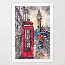 Rainy day in London ink & watercolor illustration Art Print