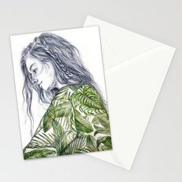 Tropical Palm Print Portrait Stationery Cards