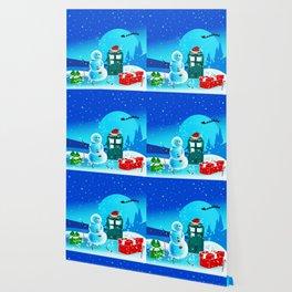 Tardis With Snow Ball Gift Christmas Wallpaper