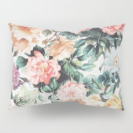 Vintage green pink yellow watercolor roses floral Pillow Sham