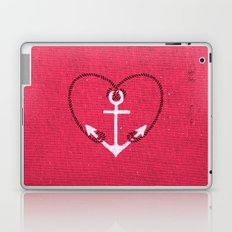Fuschia Pink Vintage White Anchor Girly Love Heart Laptop & iPad Skin