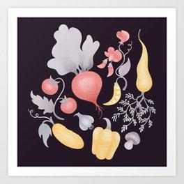 Vegetables (dark) Art Print