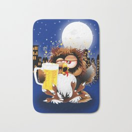 Drunk Owl with Beer Funny Character Bath Mat