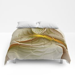 Abstract With Colors Of Precious Metals, Fractal Art Comforters
