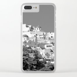 Black and White Santorini Clear iPhone Case