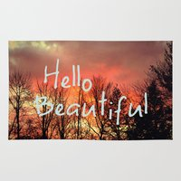hello beautiful Area & Throw Rugs featuring Hello Beautiful  by Rachel Burbee