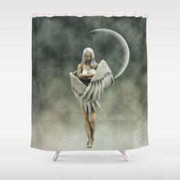 White divine angel Shower Curtain