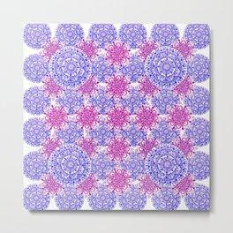 Periwinkle and Berry Colored Mandala Pattern Metal Print