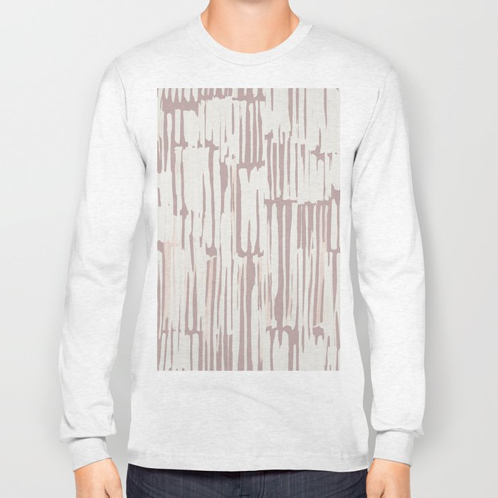 Simply Bamboo Brushstroke Lunar Gray on Clay Pink Long Sleeve T-shirt