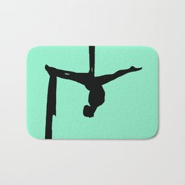 Aerial Silk Silhouette on Mint Bath Mat