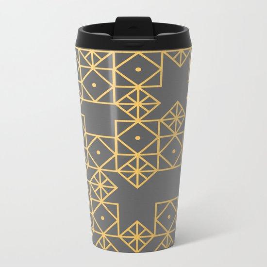 Geometric Gold Metal Travel Mug