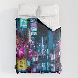Cyberpunk Aesthetic in Tokyo at Night Vertical Comforters