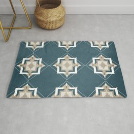 Aqua and Taupe Mosaic Pattern Rug