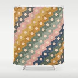 Hexagon Flowers Shower Curtain