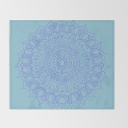 Bohemian Mandala in Beautiful Light Blues Throw Blanket