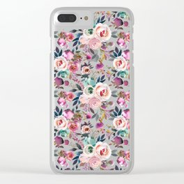 Hand painted blush pink purple watercolor floral Clear iPhone Case